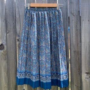 Vintage 80s/90s pleated paisley midi skirt